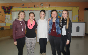 Krissy Pelletier (Second right, grade 8)