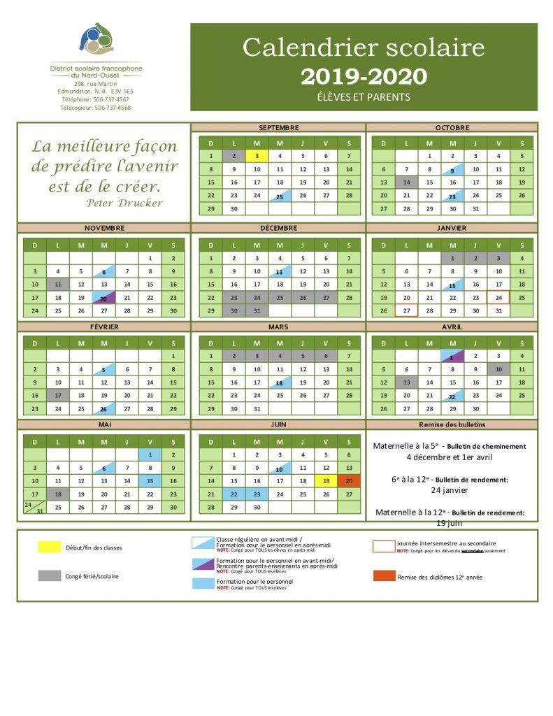 Calendrier Scolaire 2020 à Imprimer.Calendrier Scolaire 2019 Vacances Scolaires 2019 2019 10 16